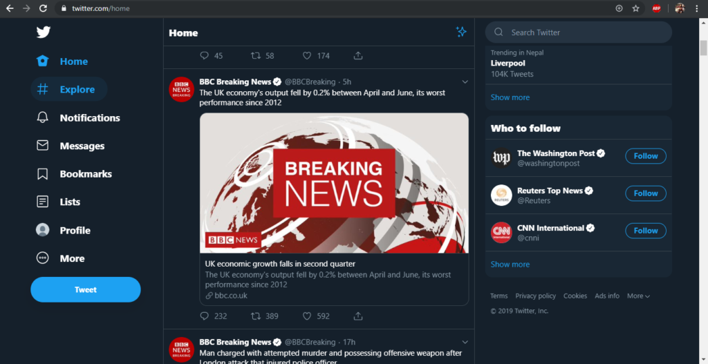twitter page after twitter login