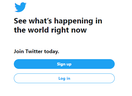 Sign up and login page of twtter.com