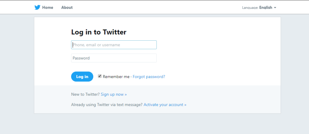 log in to twitter page