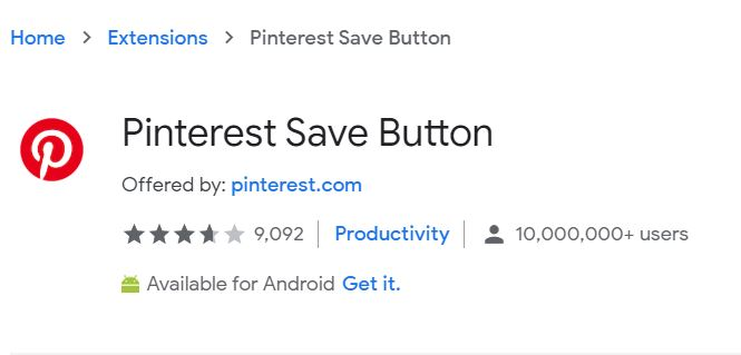 Pinterest save button extension