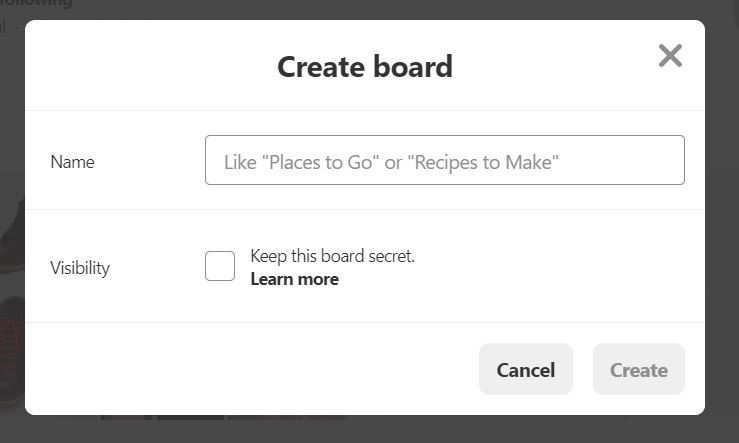 create board popup