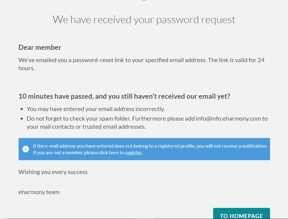 Prompt message when requesting to reset password