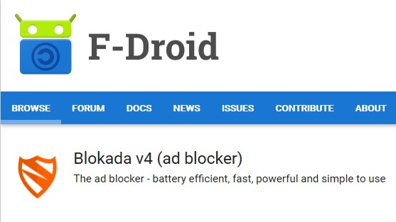 Screenshot of  Blokada v4 (ad blocker) app on the F-Droid store with menus.