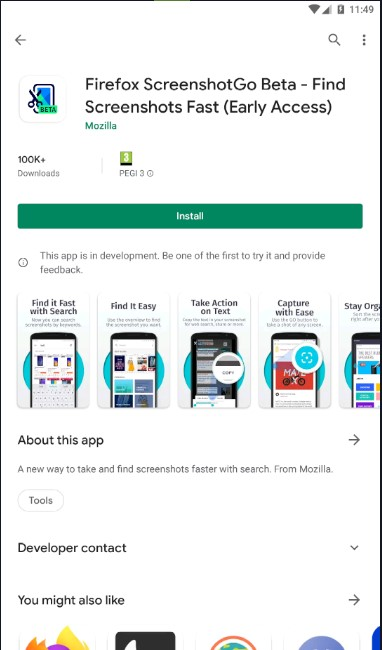 Screenshot of Firefox ScreenshotGo Beta - Find Screenshots Fast (Early Access) app on google play store with button to install.