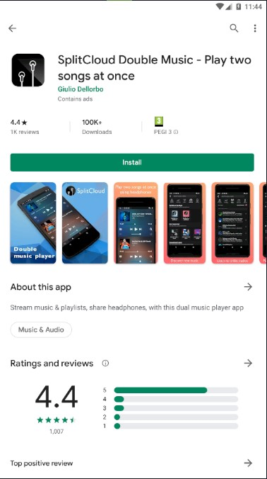 Screenshot of SplitCloud Double Music app on google play store with button to install.