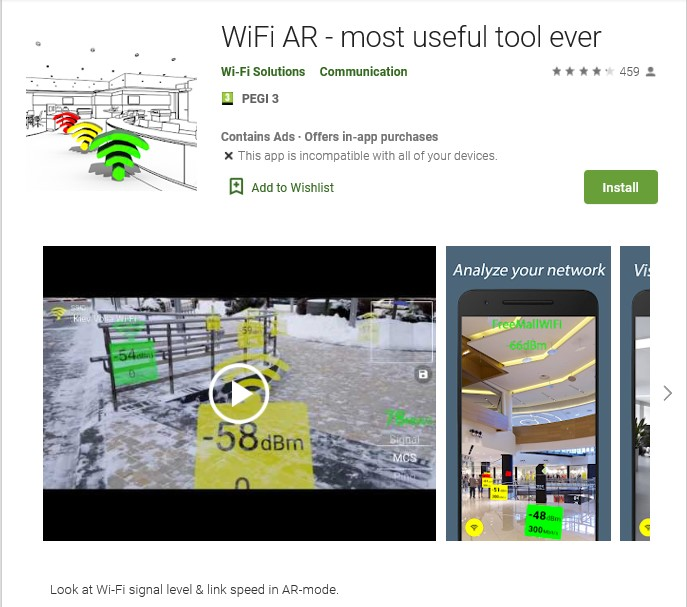 Screenshot of Wi-Fi AR - most useful tool ever app on google play store with button to install.