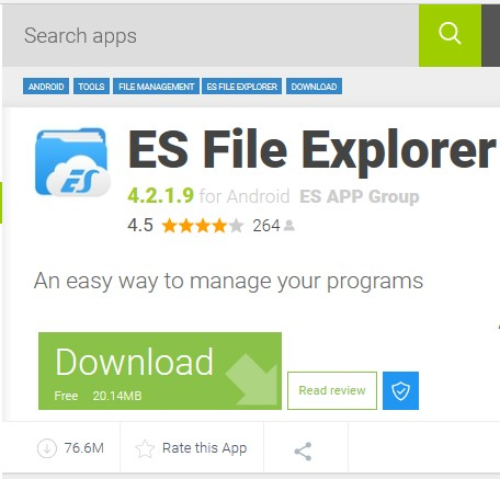 Screenshot of Es File Explorer with download and  read review button.