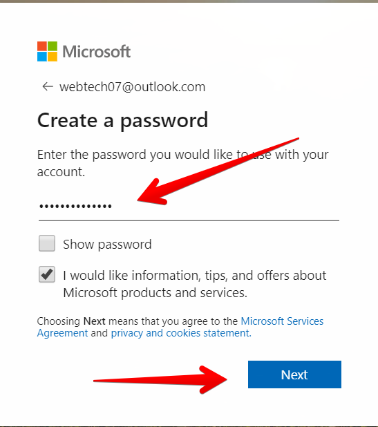 Picture-of-creating-account-for-new-outlook-account