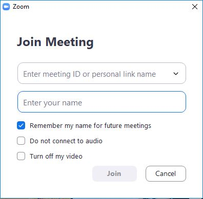 Step 2: Enter Zoom meeting ID or personal link name and your name.