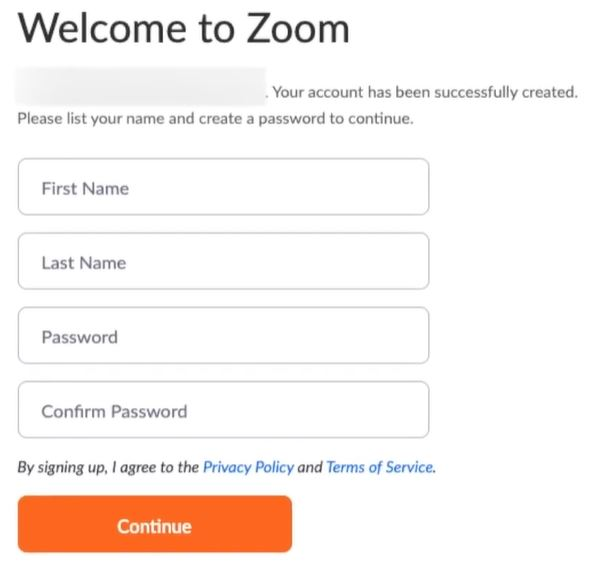 Complete Zoom sign up process by entering your name and password.