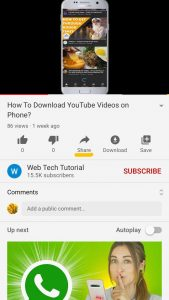 Share option in YouTube