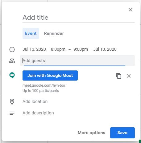 Google meet: Copy the meeting link or add guests to invite people