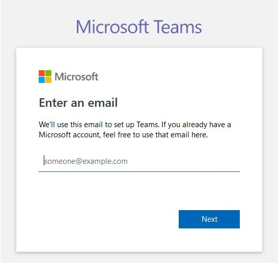 sign up to Microsoft Teams via online