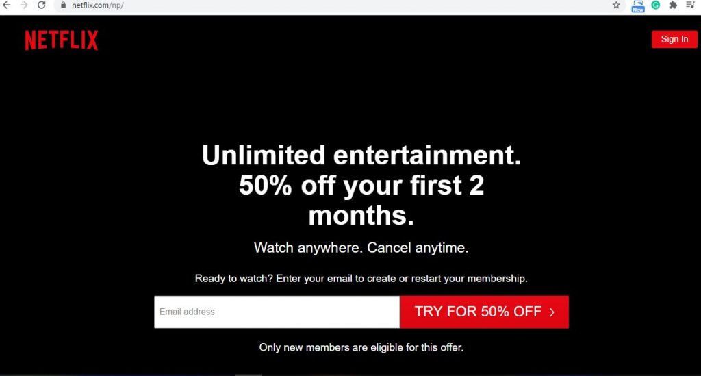 Netflix homepage to sign up